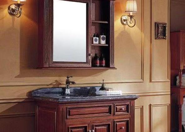 艾斐卫浴 红橡木/大理石台面浴室柜
